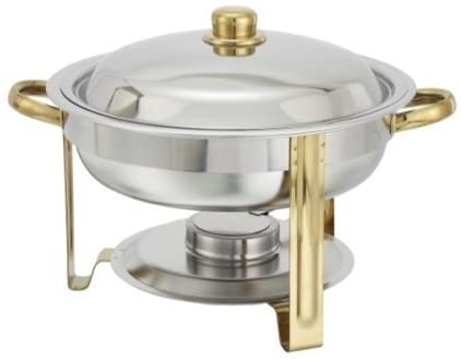 Winware 4 Quart Round Stainless Steel Gold Accented Chafer, Set of 2 by Winco US