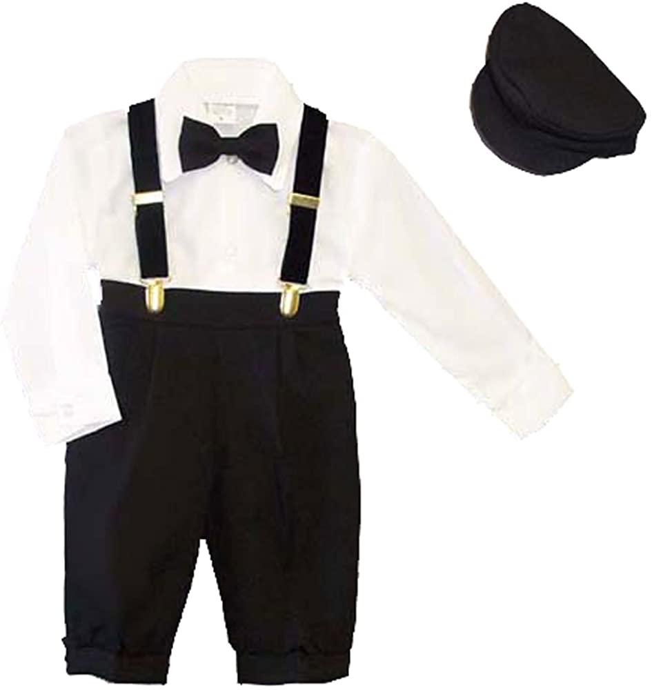 Infants 5-pc Knickers Outfit Tuxedo Style with Velvet Suspenders, Bowtie, Newsboy Cap (Infants 9 Months) Black