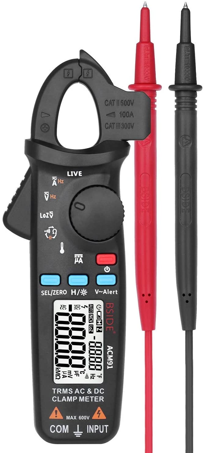 GLG-GLG Portable Scientific Clamp Meter AC/DC Current TRMS Auto-Ranging 6000 Counts Capacitance Live Check V-Alert Tester with Pocket Clip ACM91 Digital Automatic Clamp