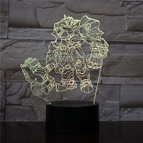 LED Night Light with Game Character Pattern,7 Colors Changing with USB Cable,Touch Remote Control, Best for Children Gift Baby Bedroom and Party Decorations.