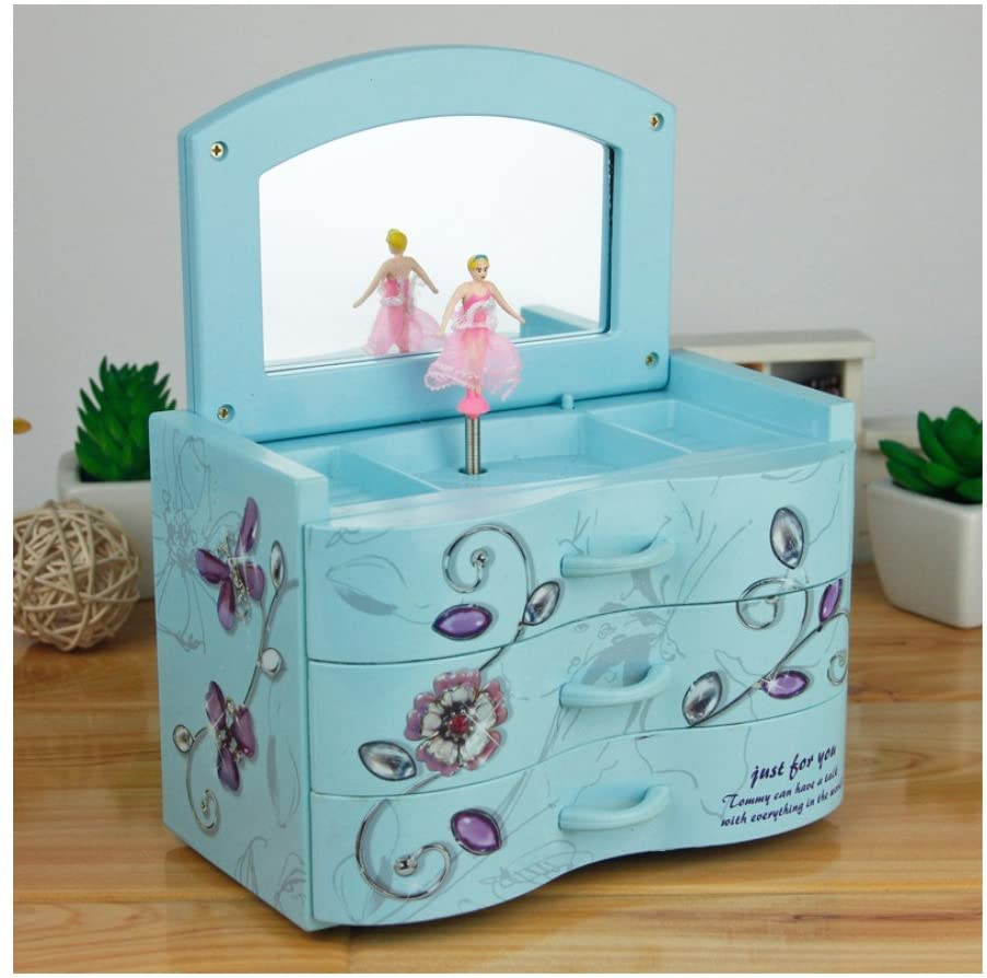 WCHUANG Music Jewelry Box with Pullout Drawer, Jewel Storage Case (blue)