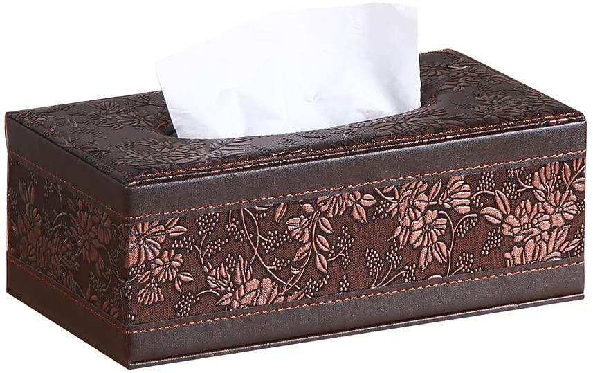 YAPISHI Leather Tissue Box Cover Retro Rectangular Facial Tissue Box Holder, Modern Napkin Storage Caddy with Magnetic Bottom, Pumping Paper Dispenser Case for House Bathroom Office Car Living Room
