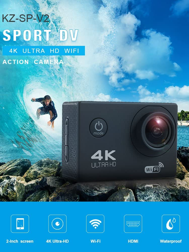 Action Camera, 96FT Waterproof Sport Camera Full HD 1080P 2.0 Inch LCD Display 140 Degree Wide Angle Lens Sport Recorder Car Camera with Outdoor Accessories