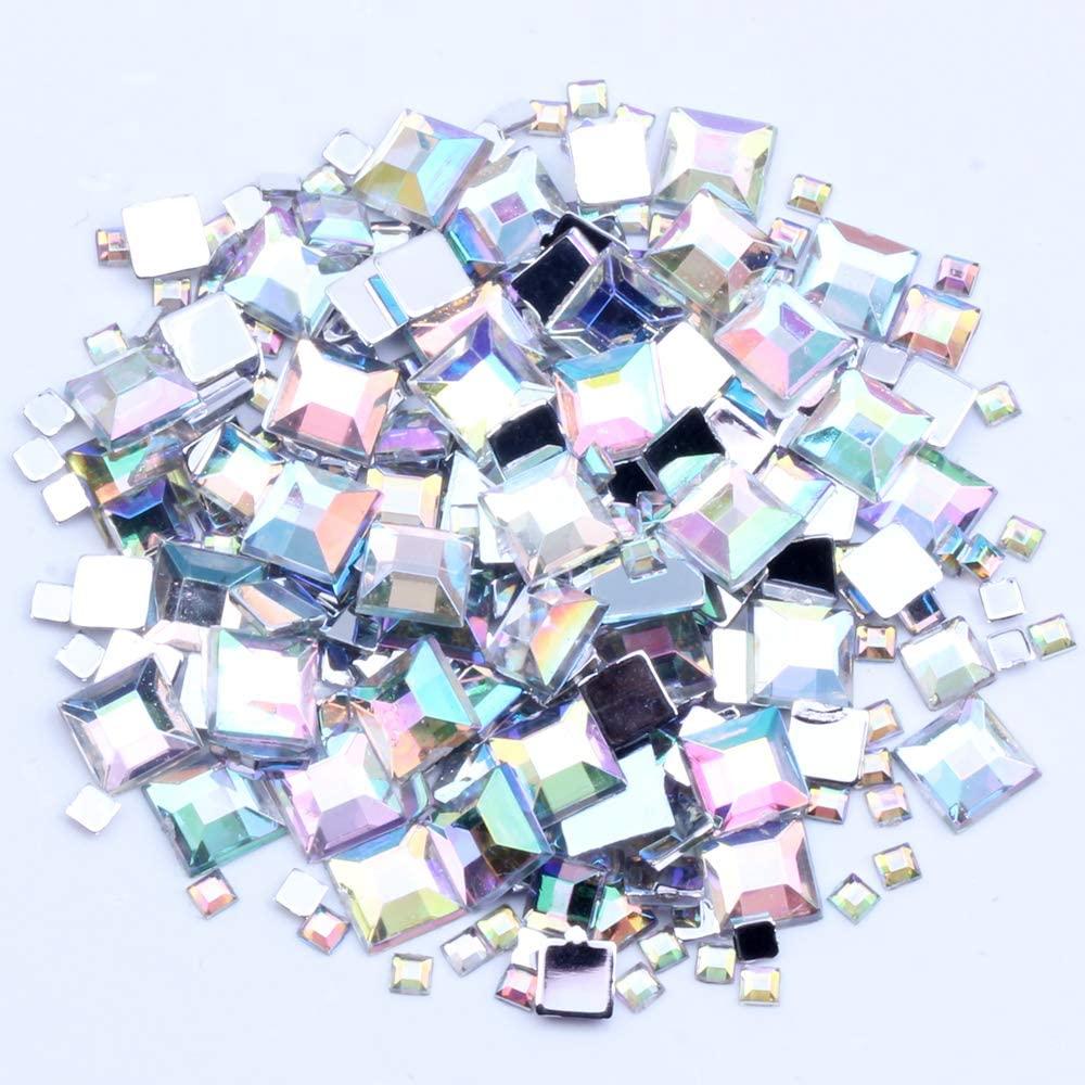 Nizi Jewelry 2mm 4mm 6mm Crystal AB Color Square Flatback Acrylic Rhinestones Shiny Stones Nail Rhinestone (2MM 4MM 6MM Mixed Sizes 4G About 180PCS)