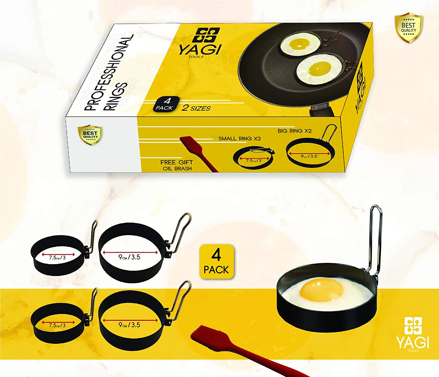 Egg Rings set, Professional stainless steel Non-Stick Rings - Easy Omelette and pancake maker - Round molds for frieing and shapeing Eggs - Perfect flip 4 pack by YagiTools (2x3 Inch + 2x3.5 Inch)