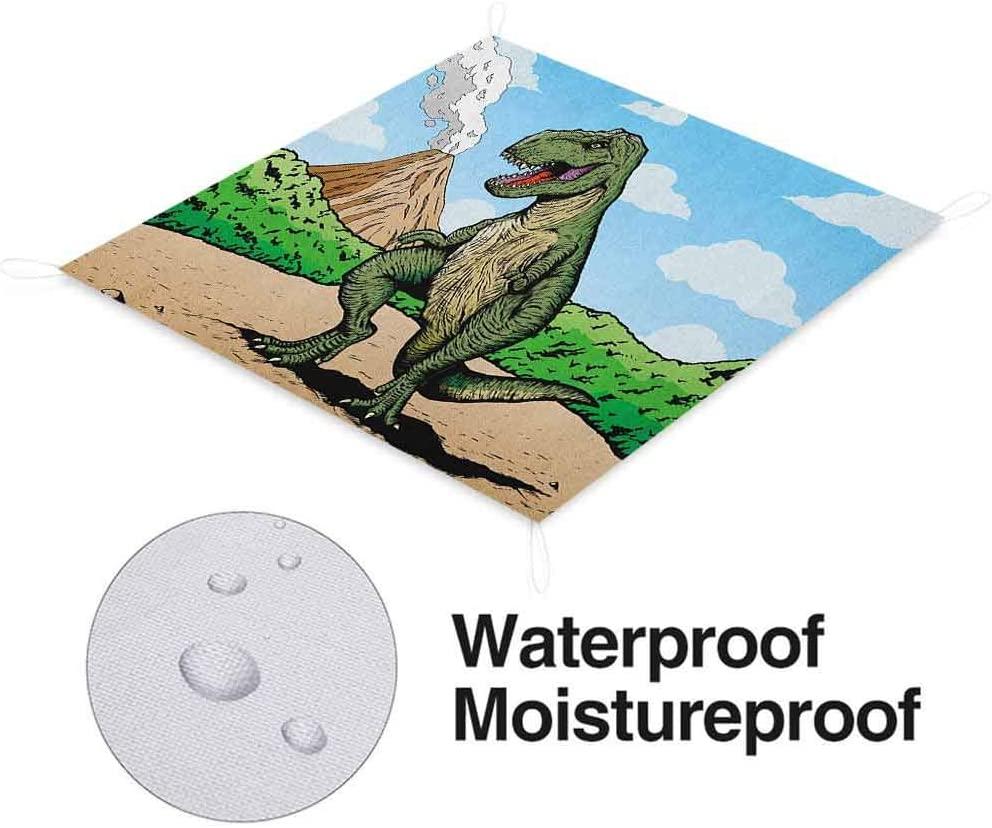 Nomorer Dinosaur Waterproof Picnic Blanket Washable, Giant Lizard T-Rex on Active Volcano Untouched Jungle Backdrop Durable Picnic Mat, 60 x 57, Green Pale Brown Pale Blue