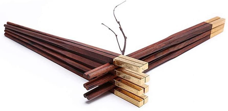 Mihaojianbing Chopsticks - Red Rosewood Chopsticks, Log Alloy Mahogany, Lacquer-Free, Wax-Free Wood Chopsticks, 10 Pairs, Length 25cm Polishing Technology