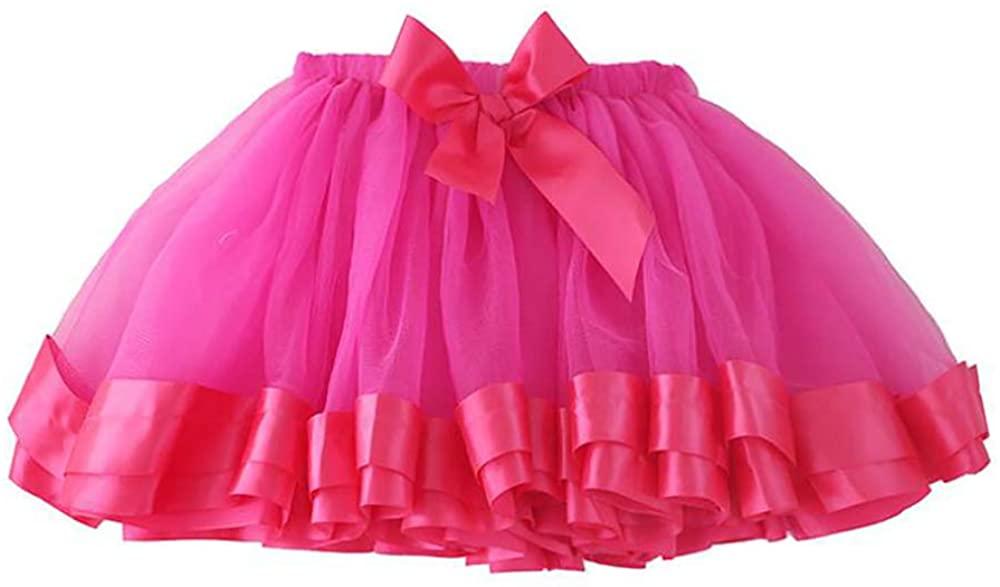 Tutu Skirts for Girls Toddler Ballet Skirt Classic Layers Tulle Tutu Skirt for Kids,Rose red-3