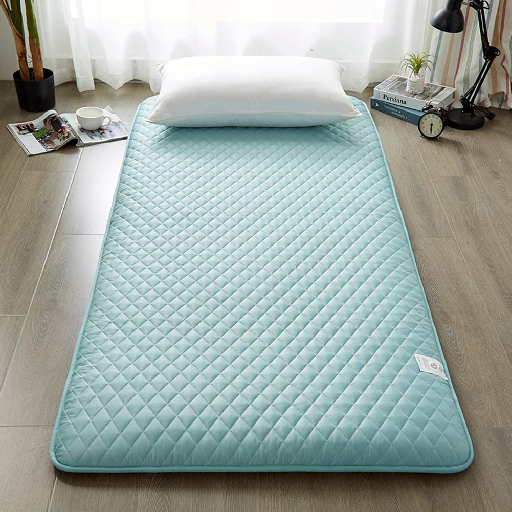 LXYCD Traditional Japanese Futon,Foldable Quilted Mattress Roll Up Tatami Floor Mat Student Dormitory Sleeping Pad Thicken Mattress Toppers-Green-b 120x190cm(47x75inch)
