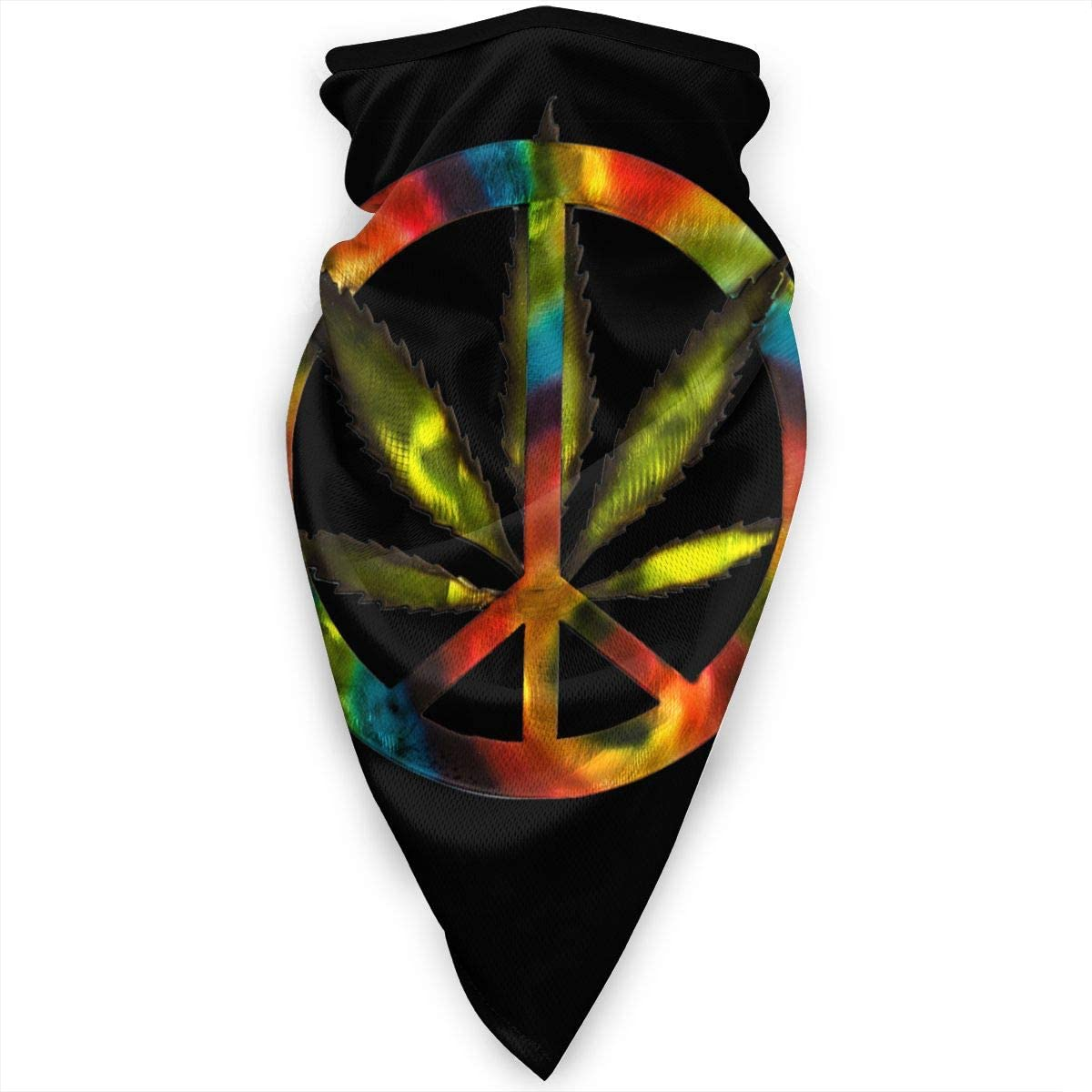 WAY.MAY Cannabis Leaf Tie Dye Peace Sign Windproof Sports Mask Neck Gaiter Bandana Balaclava Warmer Scarf