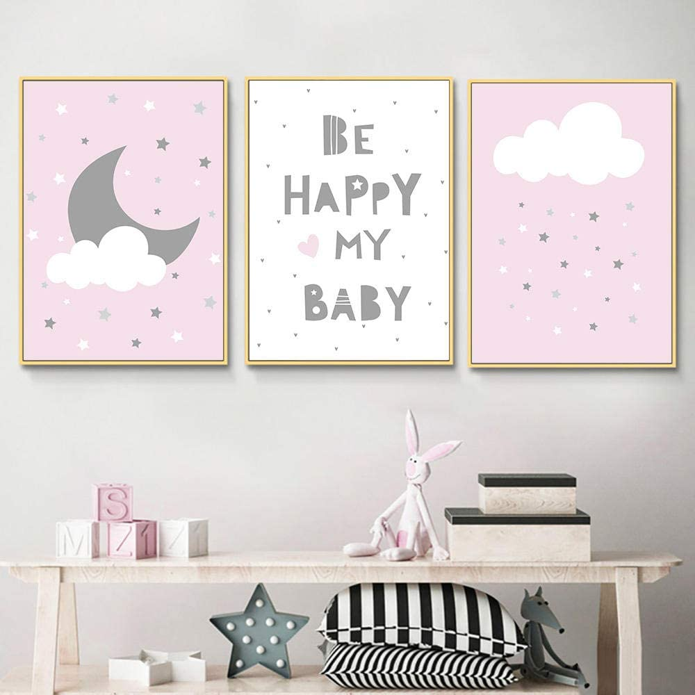 Stars Moon Cloud Cartoon Poster Pink Heart Nursery Print Nordic Poster Baby Letter Wall Pictures for Girl Room Decor-50X70Cmx3 Pcs No Frame