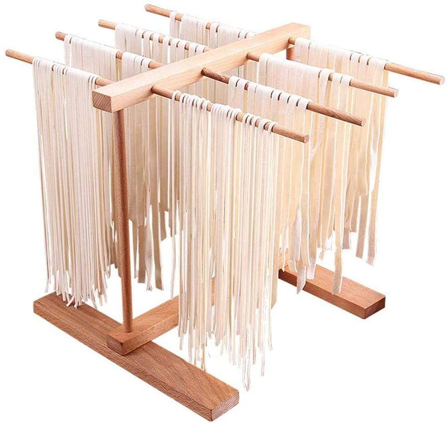 BaofuFacai Homewares Pasta Drying Rack Natural Beechwood Collapsible Wooden Noodle Stand, Collapsible Wooden Spaghetti, Noodle and Fresh Pasta Drying Stand - Natural Beechwood