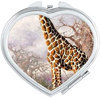 Blueairs Giraffe On African Grassland Realism Oil Painting Heart Compact Makeup Pocket Mirror Portable Cute Small Hand Mirrors Gift