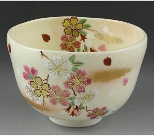 Kiyomizu-kyo yaki ware. Japanese Matcha chawan teabowl Ninsei hanazakura with paper box. Ceramic. kymz-TON370