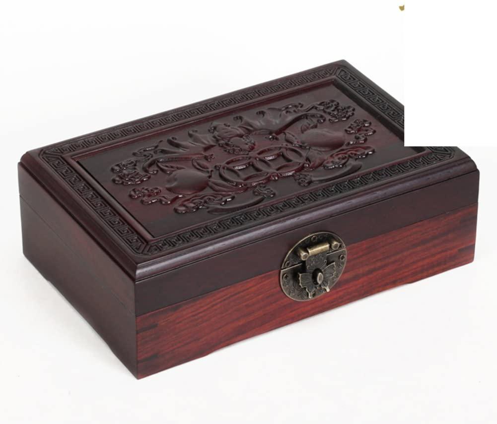 MYITIAN Redwood Crafts Red Sandalwood Wood bat Boxes Chinese-Style Jewelry Box Jewelry Box World