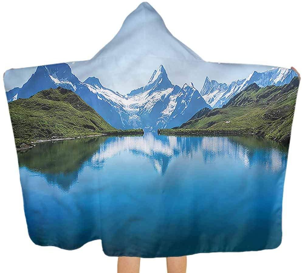 Carmaxs Nature Kid Hooded Blanket, Majestic Snowy Peaks Lake Child Holiday Shower Gifts Soft Kids Bathrobe, 32 x 50 inces