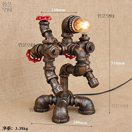 Retro Wind Industrial Water Pipe Creative Iron Restaurant Bar Counter Cafe Robot Table Lamp,