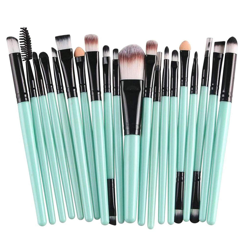 NICEMOVIC 20 Pcs Makeup Brush Set, Powder Foundation Eyeshadow Eyeliner Lip Cosmetic Brushes Make-up Toiletry Kit (Green & Black) Ideal for Pro & Daily Use