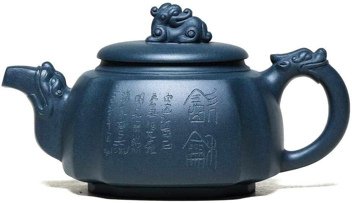 SHENLIJUAN teapot famous hand-ore clear day mud side pot Quartet dragon statue teapot (Color : Blue)