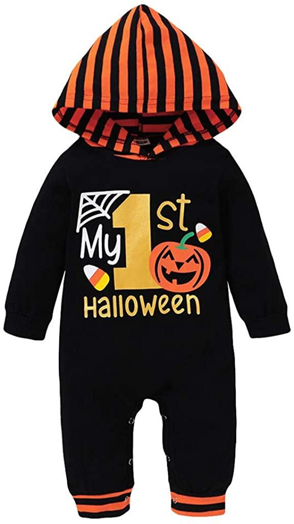 Halloween Baby Boy Girl Outfit My First Halloween Pumpkin Print Hoodie Romper Bodysuit One-Piece Jumpsuit for 3-18M