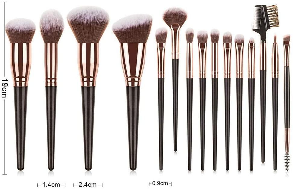 N/W 15PCS Makeup Brushes Set Professional Cosmetic Brushes Kits Black Gold Makeup Tools for Women Foundation Face Powder Eyeshadow Blush Lip Brush Kit Makeup Brush Sets & Kits