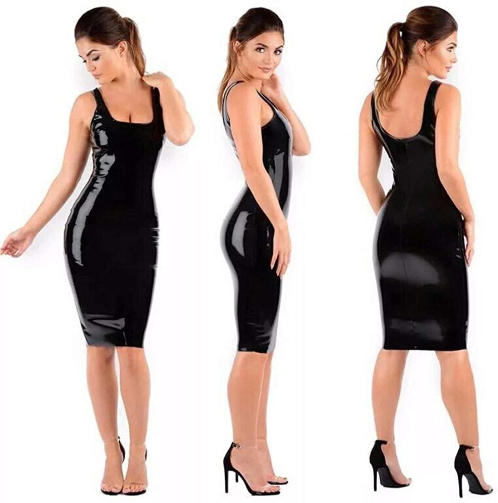 FASHION QUEEN Plus Size Simple Backless Tank Dress Ladies PVC Skinny Midi Dress