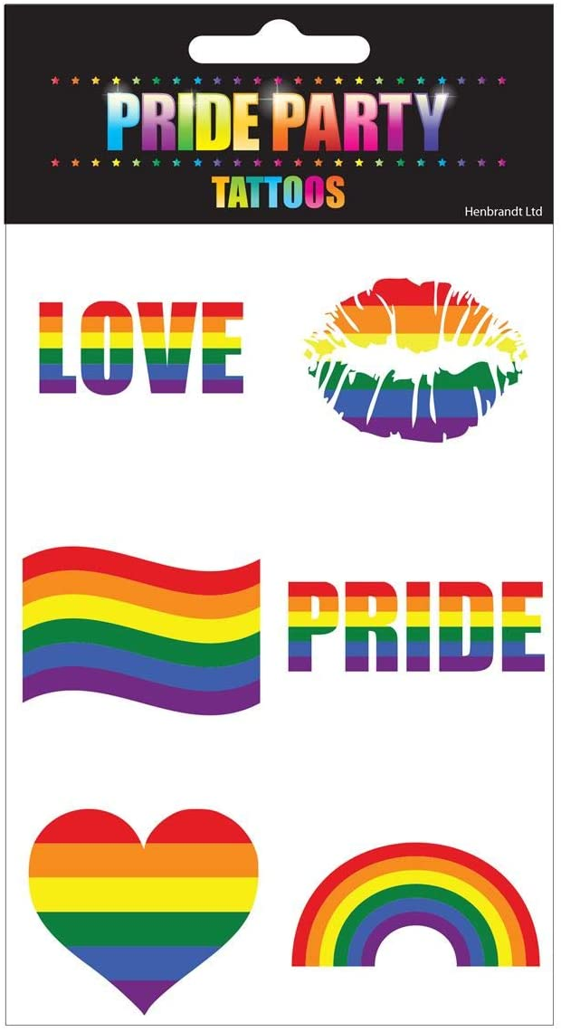 Rimi Hanger Valentines Gay Pride Rainbow Stickers Temporary Tattoo Body Paint 6 Shapes Tattoo Set Gay Pride Celebrations Pack of 12
