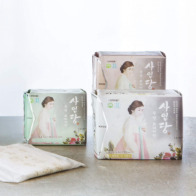 Saimdang Korean Cotton Feminine Pads with Wings 45 Count - Natural, Herb Infused - Multi-Size Pack (25 Liners + 10 Regular Pads + 10 Large Pads)