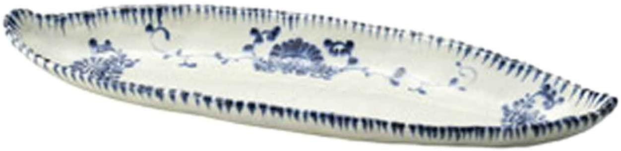 Annan Flower 22.4inch Long Plate White Ceramic Made in Japan