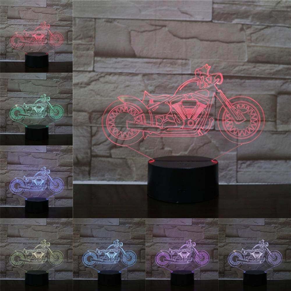 LED Night Light with Cool Motorcycle Pattern,7 Colors Changing with USB Cable,Touch Remote Control, Best for Children Gift Baby Bedroom and Party Decorations.