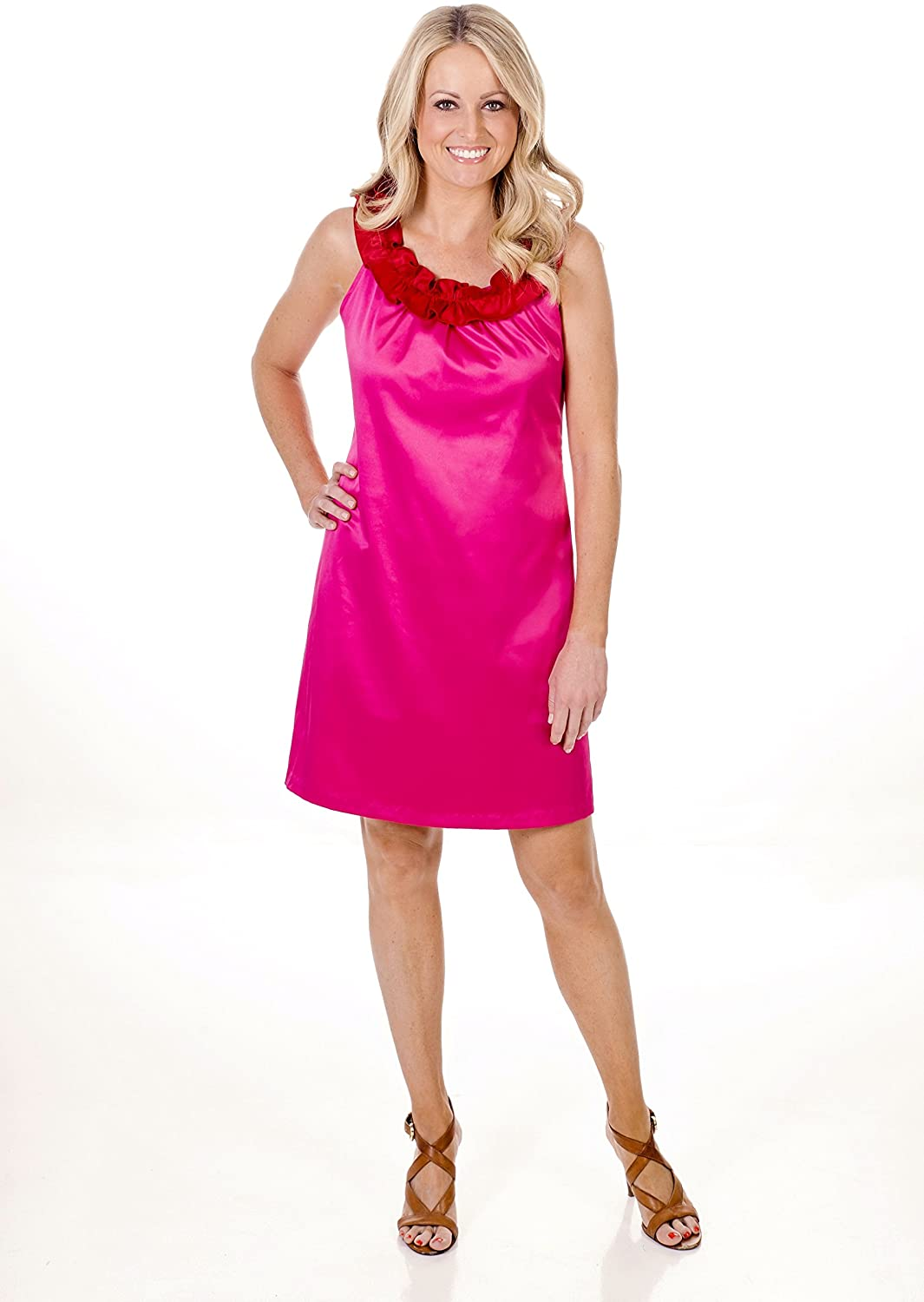 Hot Pink Sateen A-Line Dress With Red Sateen Ruffle Collar-Addabelle