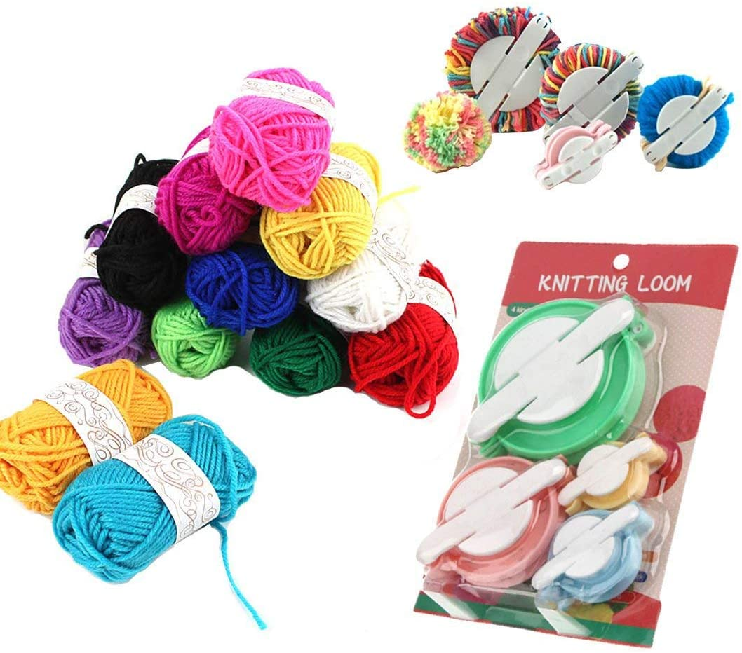 Pompom Makers,4 Sizes Pom-pom Maker Fluff Ball Waver with 12 Skeins Acrylic Yarn for DIY Wool Yarn Crochet Knitting