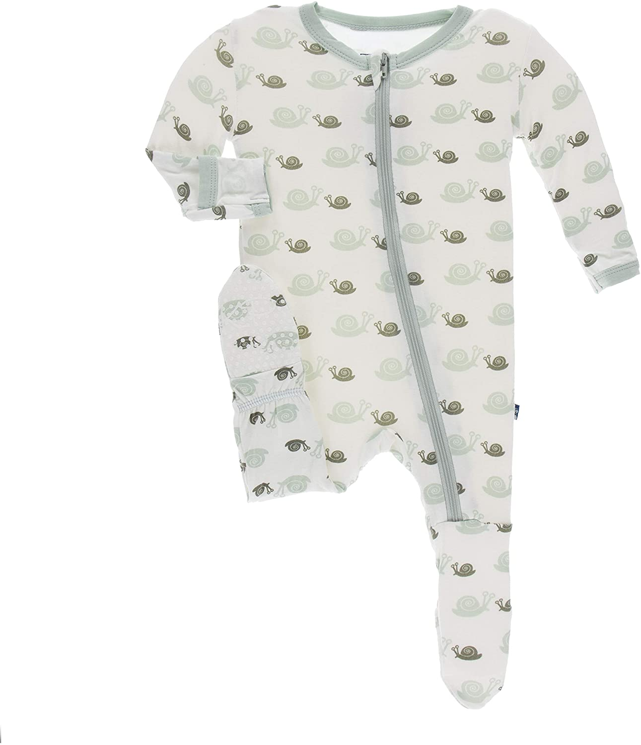KicKee Pants Print Footie with Zipper (Natural Snails - 9-12 Months)