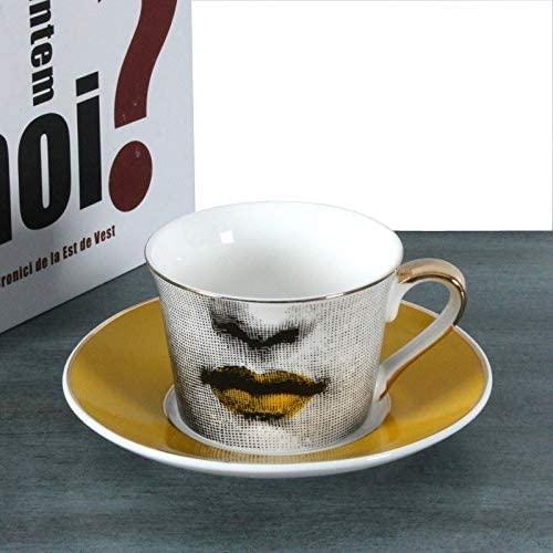 ZHKY Creative Nordic Bone China Coffee Cup Set Retro Golden Age Mug Home Decoration Coffee Tea Cup Classic Bone China Coffee Tea Mug Cup for Gift