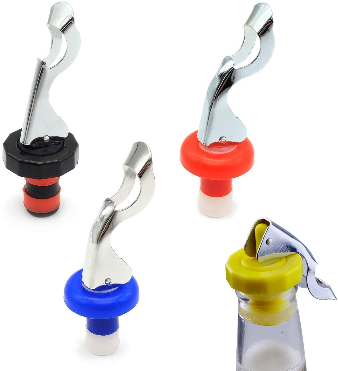 Wine Stoppers, Food-safe Silicone Bottle Stoppers, Expanding Manual Beverage Stopper, Reusable Wine Bottle Corks, Creates Airtight Seal, Assorted Colors 4 Pack (Assorted)