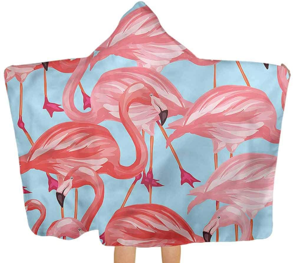 ThinkingPower Hooded Baby Towel Flamingo, Tropical Avian Animals 100% Cotton Bath Towel Coverup Poncho Sized for Infant and Toddler 51.5x31.8 Inch