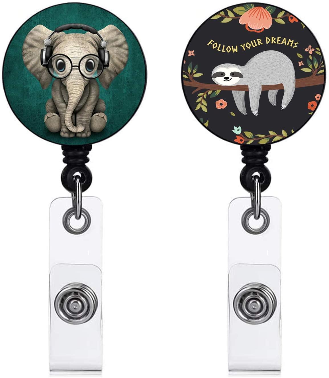 Nurse Badge Holder Reel Clip Retractable ID Card Name Badge Reel Holder 24 inch Sloth & Elephant