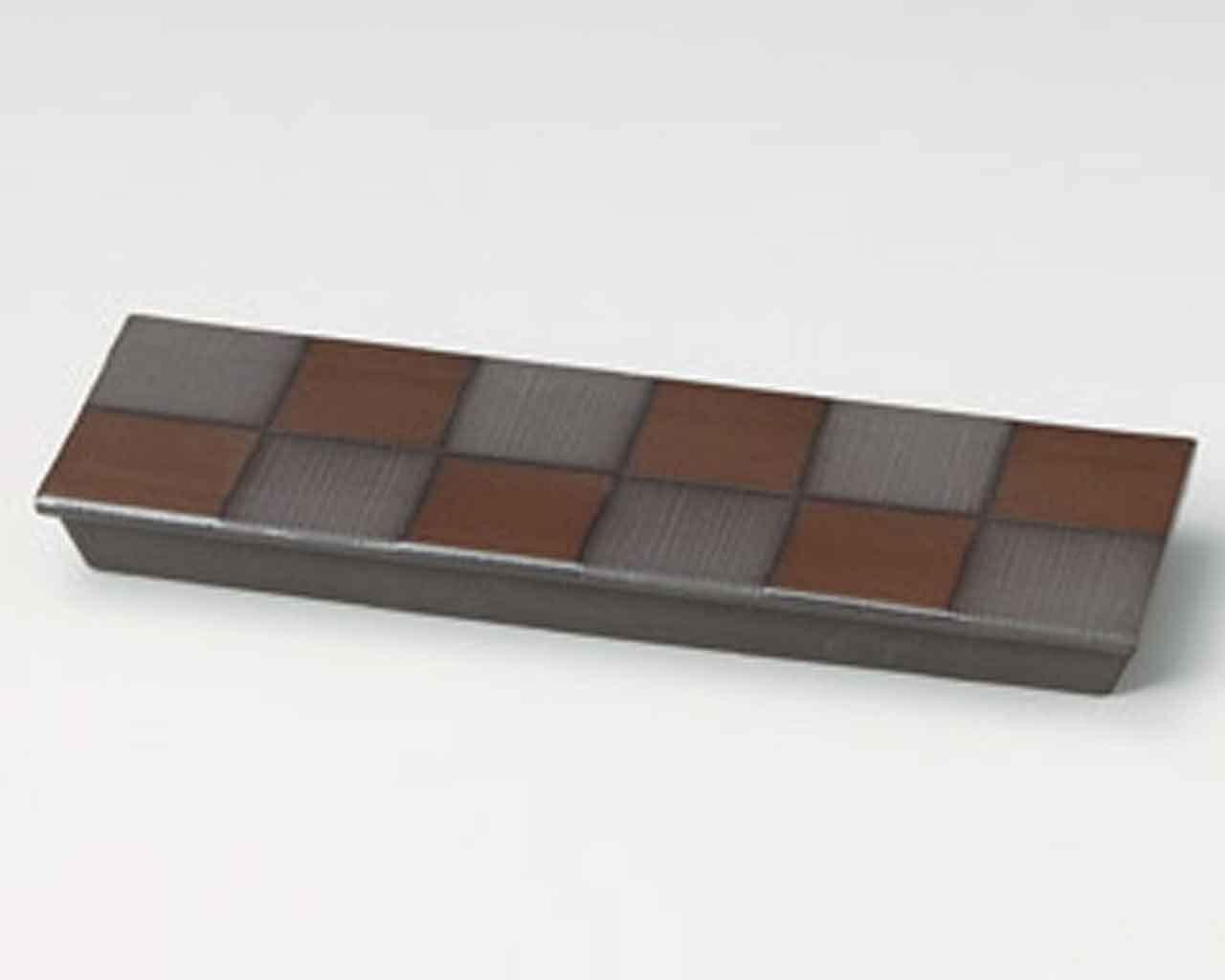 Ichimatsu 12.2inch Set of 2 Long Plates Black Ceramic Made in Japan