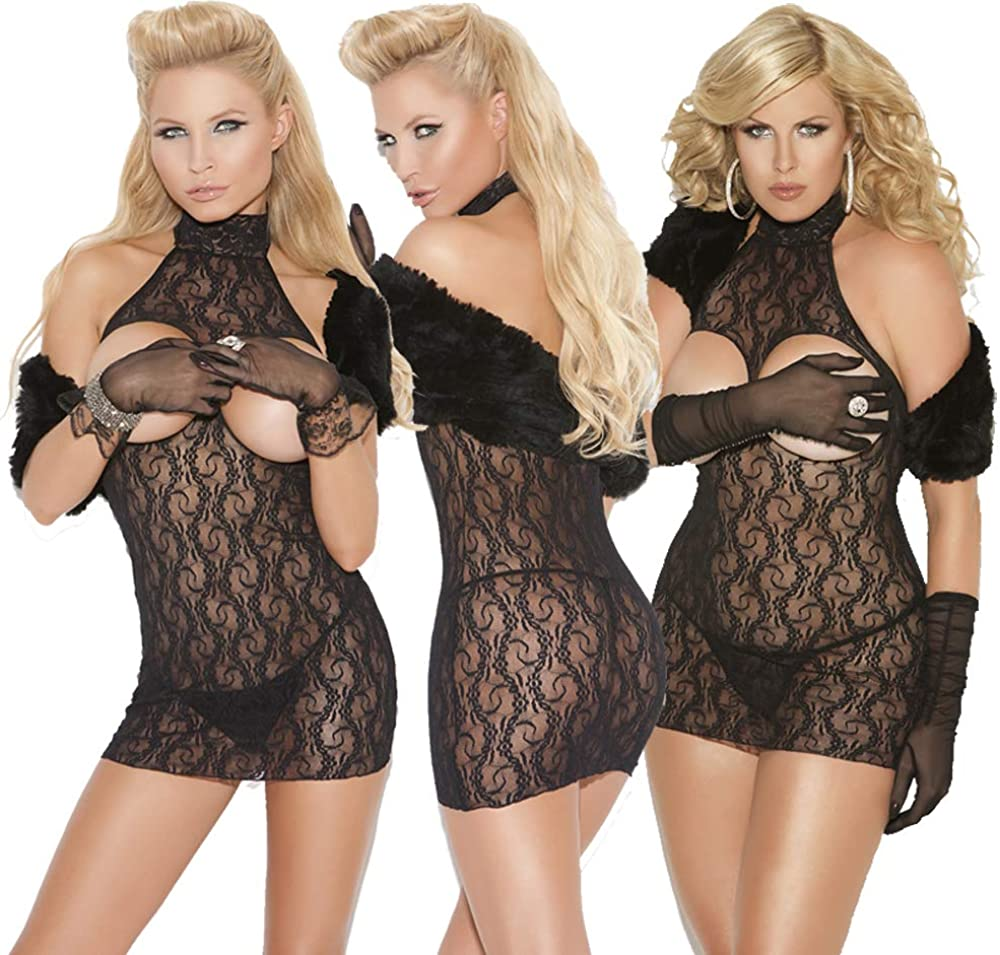 Elegant Moments Women's Cupless Lace Mini Dress-Plus Size
