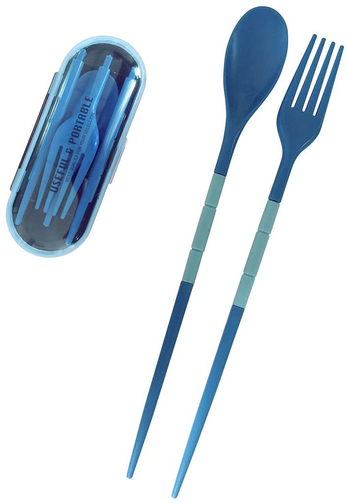 Funycell Portable Utensils Flatware Set Foldable Plastic Travel Camping Cutlery Set with Case Fork Spoon Chopsticks Tableware (Blue)