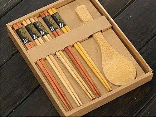 Express$ Wooden Tableware Set 5 Pairs Chopsticks 1 Rice Spoon Housekeeping Kitchen Japanese Style Natural Beech Handmade Wedding Gift Box
