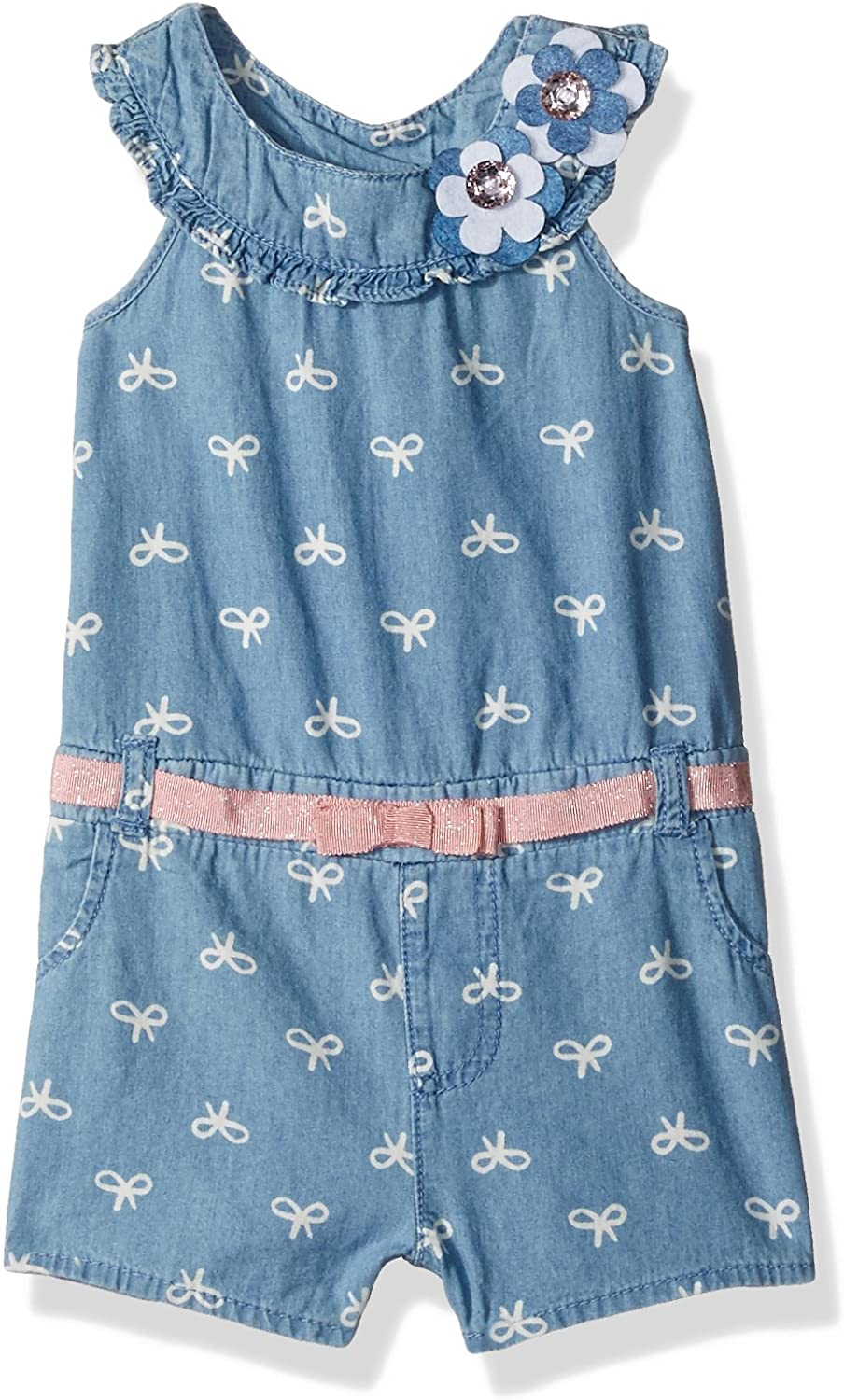 Little Lass Baby Girls' 1 Pc Chambray Romper