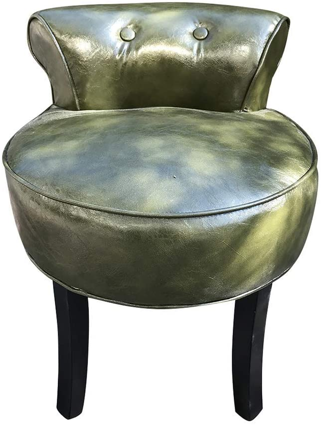 GWW Chair Upholstered Vanity Stool, Padded Makeup Stool, Solid Wood Fan Backrest Dressing Chair, Baroque Piano Stool, Easy-to-Clean Oil Wax Leather