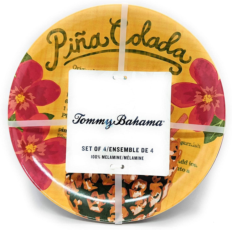 Tommy Bahama Pina Colada Cocktail Tropical Melamine Lunch/Snack Plates Set of 4Salad Plates Dishwasher Safe Shatterproof Kitchen Indoor Outdoor