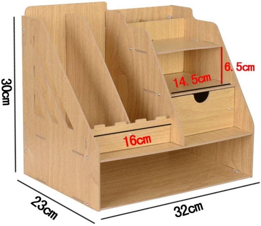 Creative Desktop Storage Box Office File Rack Wooden Multifunctional Finishing Box,Oak