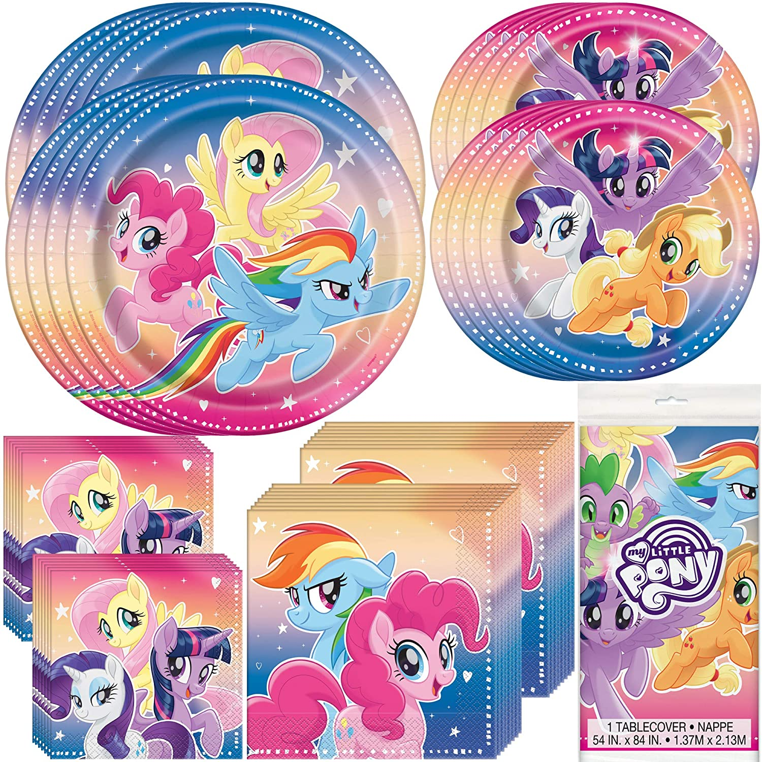Unique My Little Pony Birthday Party Supplies and Decorations | Dinner and Dessert Paper Plates, Luncheon and Beverage Paper Napkins and Table Cover