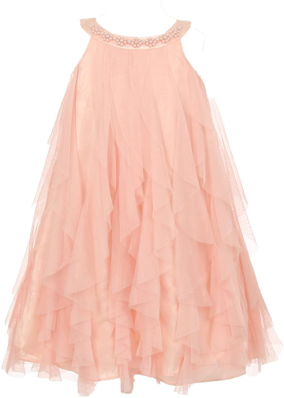 Kids Dream Mesh Ruffle Dress with Pearl Beading Blush Pink-8