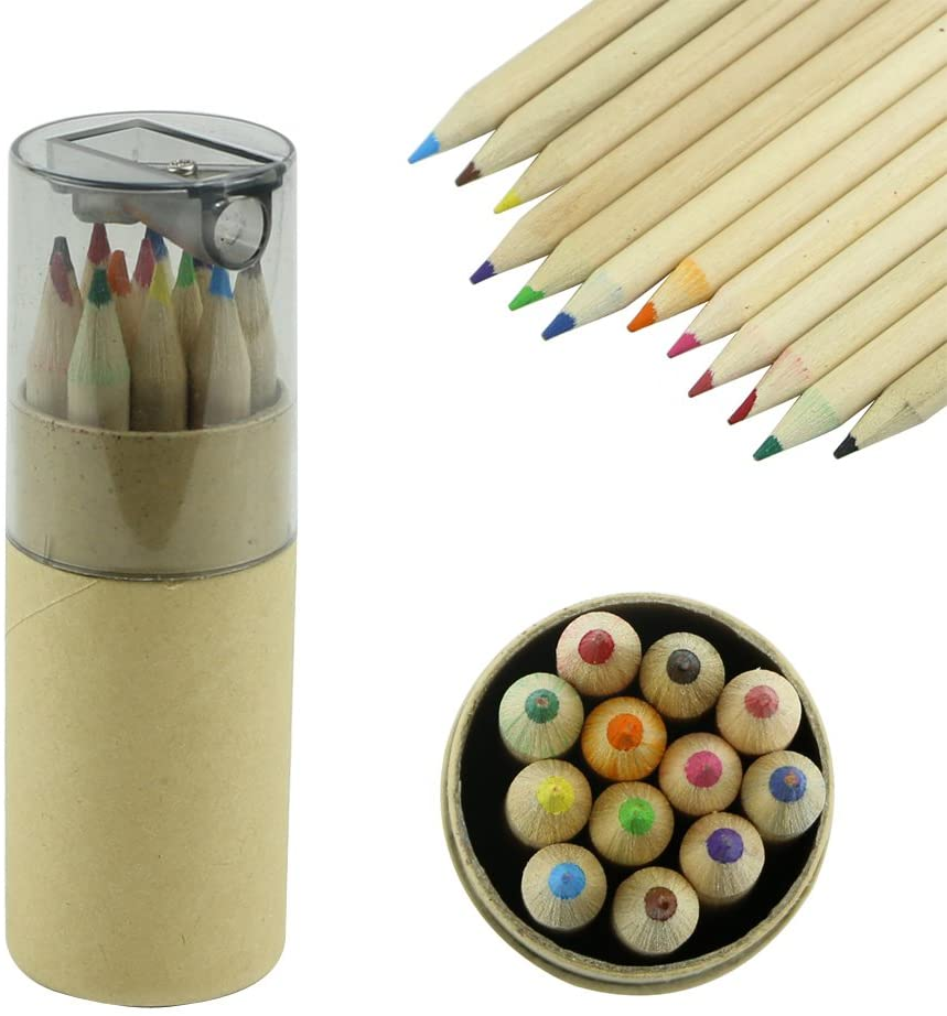 BCHZ 12Pc Mini Cute Child Gift Wooden Painting Writing 12 Colors Pencils with Sharpener