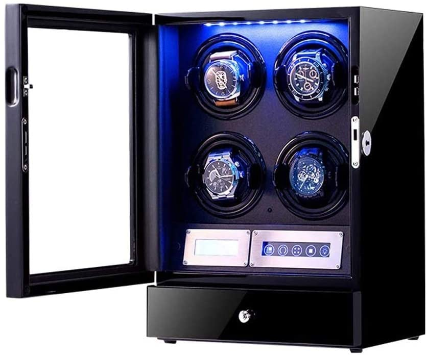 Automatic Watch Winder,Wooden Storages Piano Paint Can Box for 4 Automatic Watches, with Adjustable Watch Pillows, LCD Touch Screen and Built-in LED Light (Color : A)