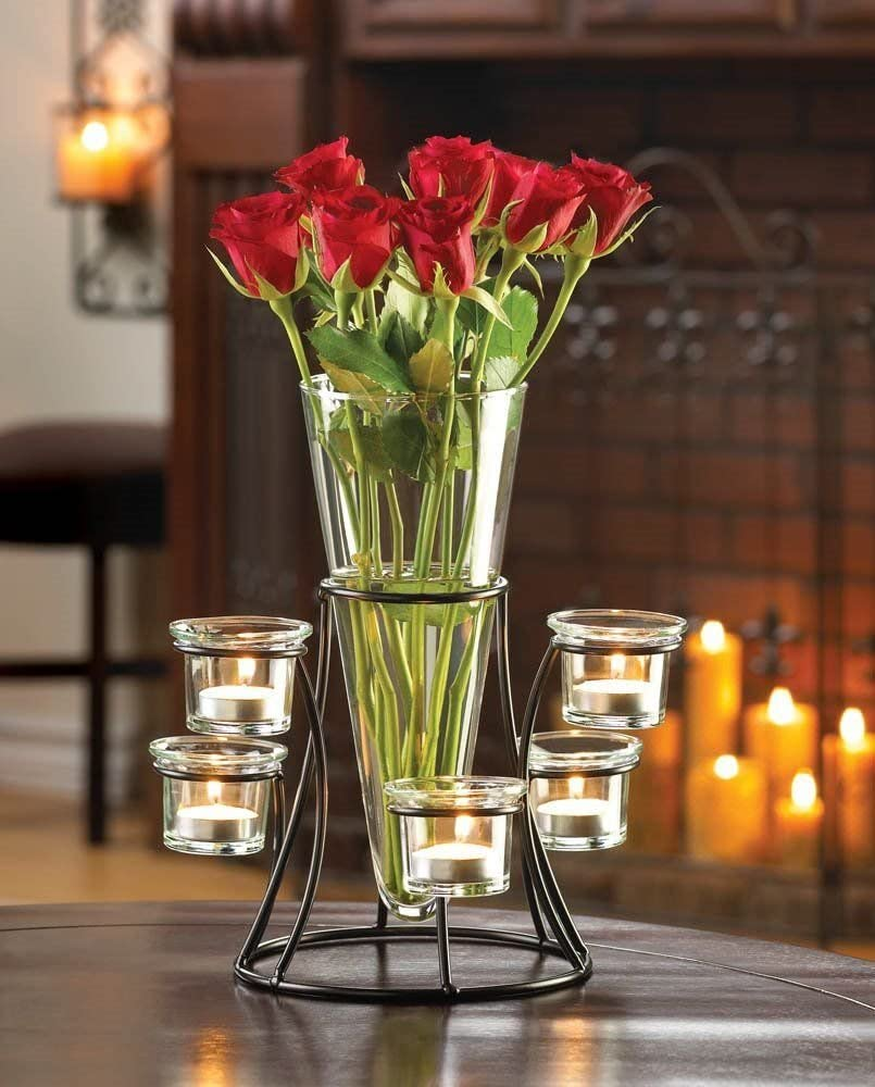 Circular Candle Stand Centerpiece With Vase Iron Tabletop 6 Cup Candleholder